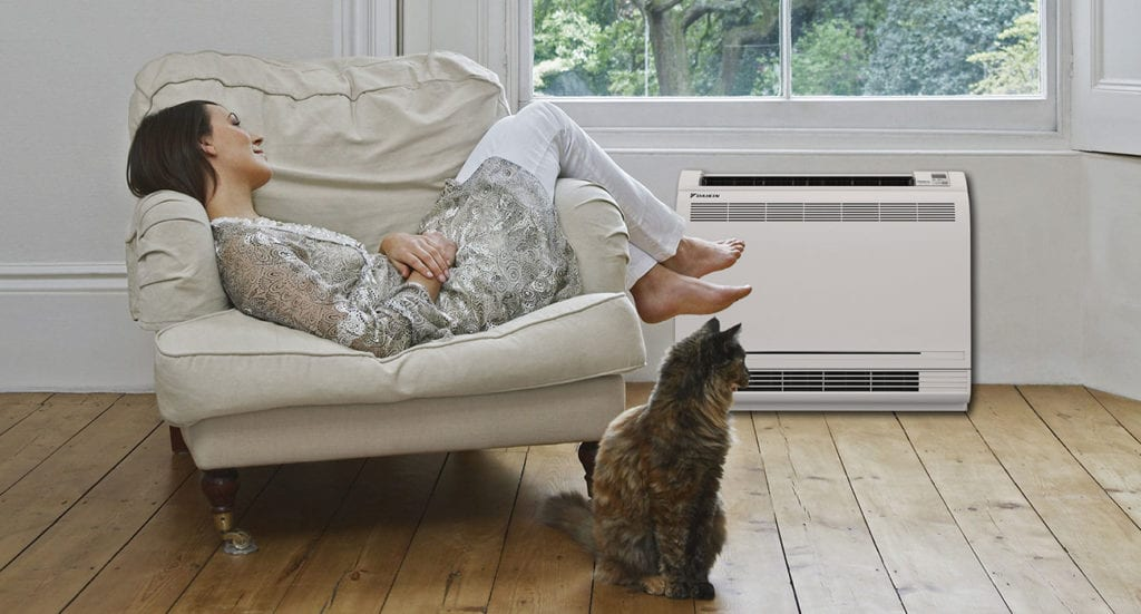 Woman sitting on chair next to cat and ductless mini split air conditioner.