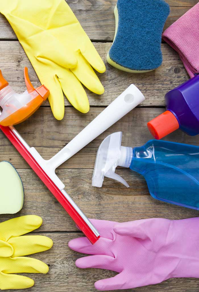 Cleaning products on wooden table