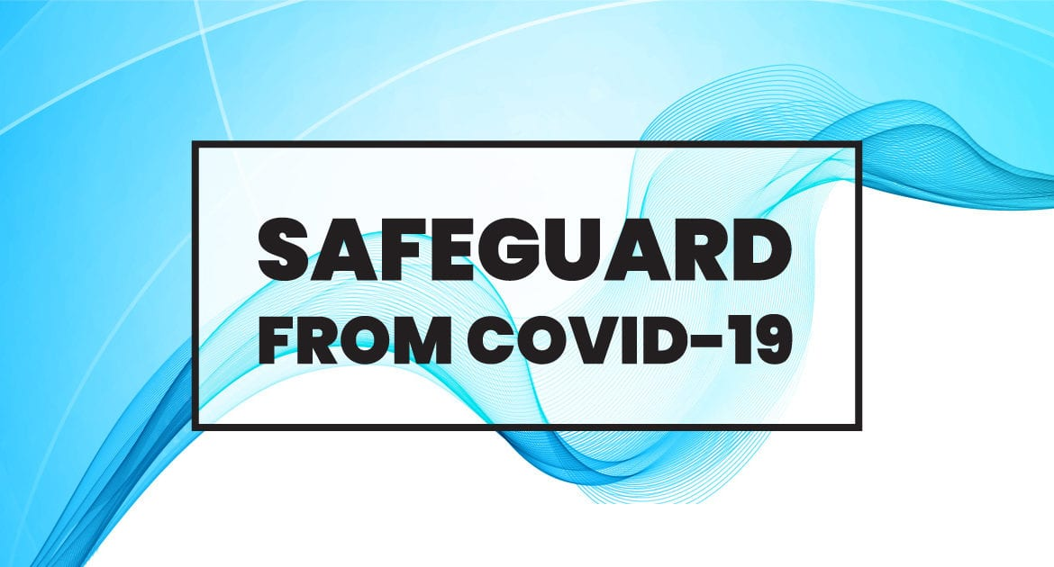 Safeguard from COVID-19 text over blue abstract design.