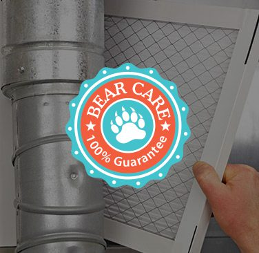 Bear Care 100% Guarantee logo centered over image of filter and ductwork