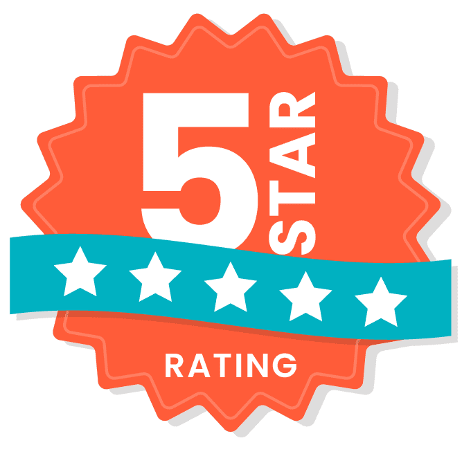 Orange, teal and white 5 Star Rating logo