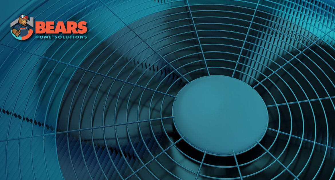 A closeup of rotating fan blades in an air conditioner