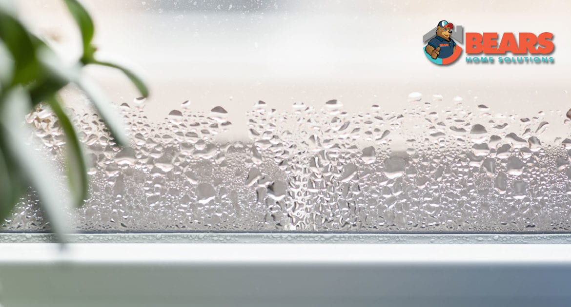 Water droplets on the inside of a window in a home