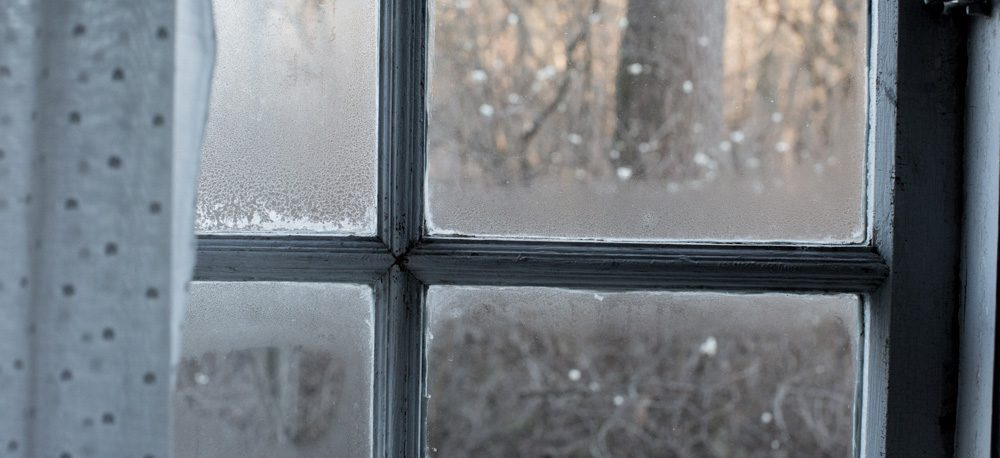 A four-paned window of a home with condensation on the inside.